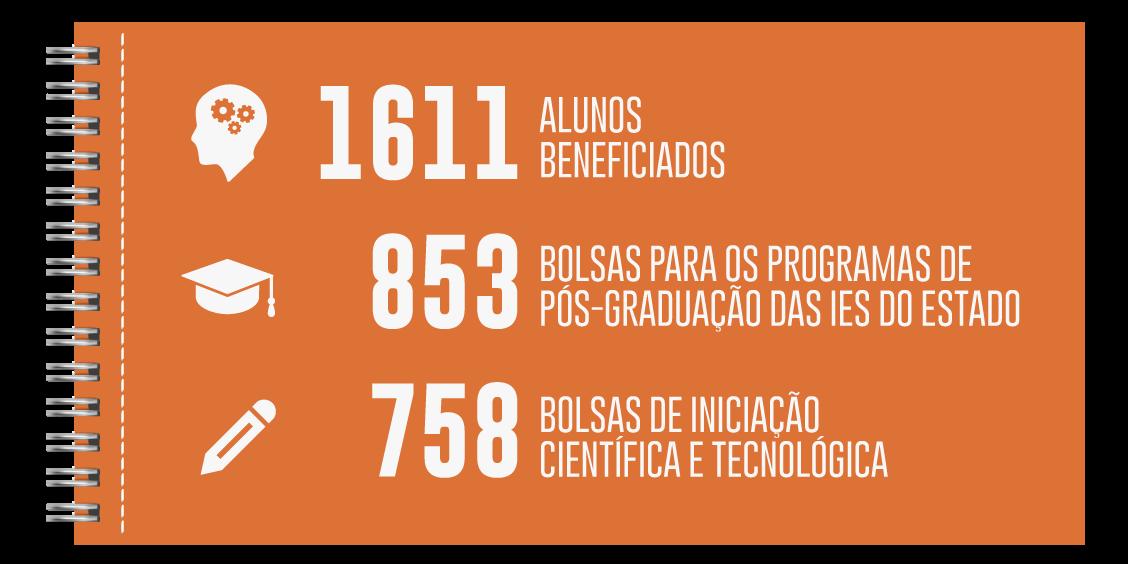 Infográfico com dados Educação Superior - Bolsas de graduação e pós-graduação.