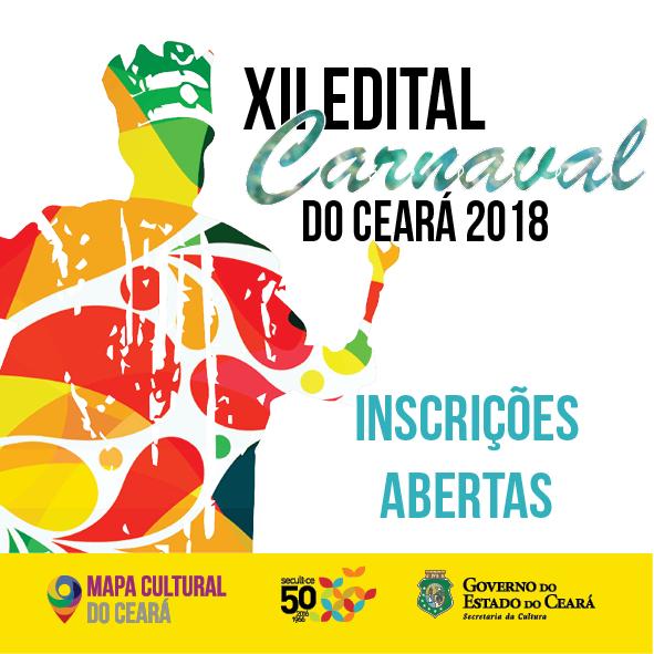 As inscrições serão gratuitas e exclusivamente online, pelo site www.editais.cultura.ce.gov.br