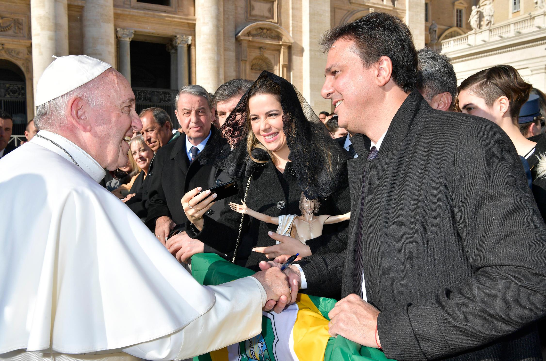 Durante o encontro, Camilo Santana falou sobre o Ceará, agradeceu pela reconciliação de padre Cícero com a Igreja e pediu a beatificação do sacerdote