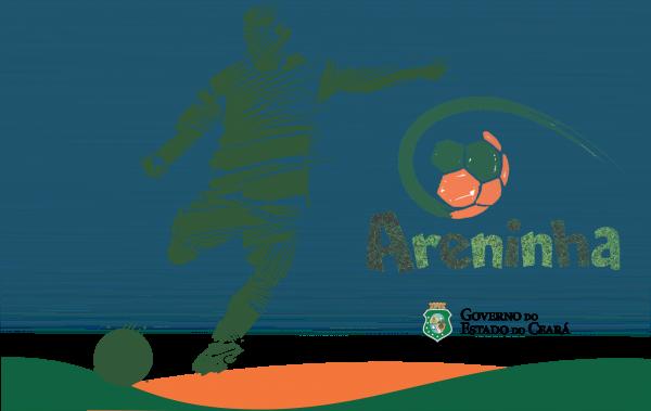 """Ilustração em verde com silhueta homem chutando uma bola. Ao lado direito da imagem, o logo da programa de governo """"Areninha"""" e o brasão do Governo do Estado do Ceará. Borda inferior com as cores laranja e verde."""