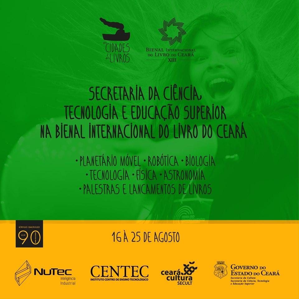 banner da secretaria da ciência, tecnologia e educação superior na bienal