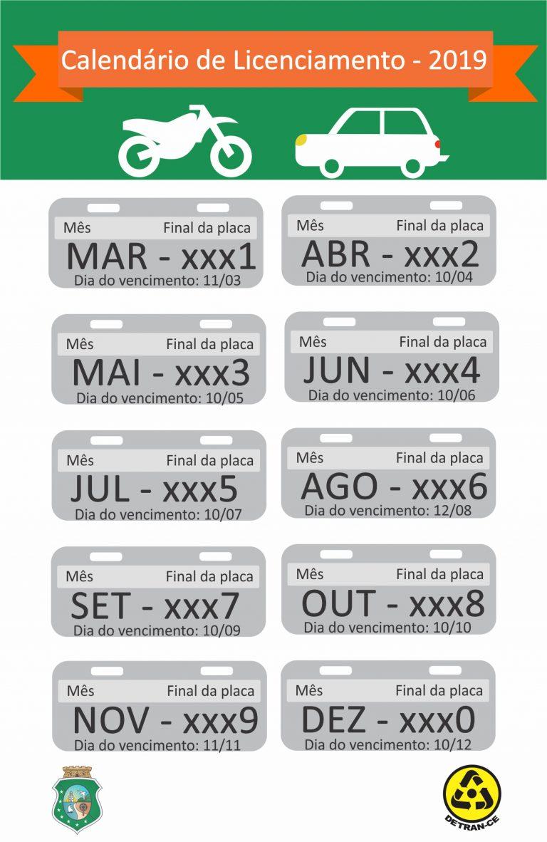 calendário de licenciamento de veículos