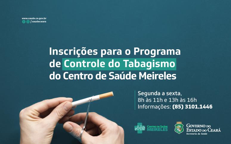 Banner do Centro de Saúde Meireles para o controle do tabagismo