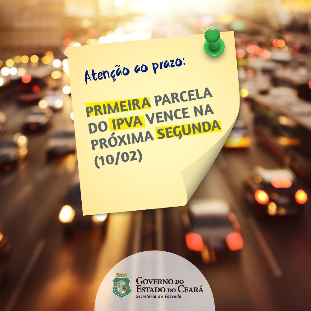 Banner Primeira parcela do IPVA 2020 vence na próxima segunda-feira (10)