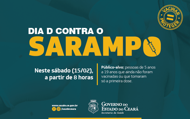 Banner da campanha de vacinação contra o sarampo