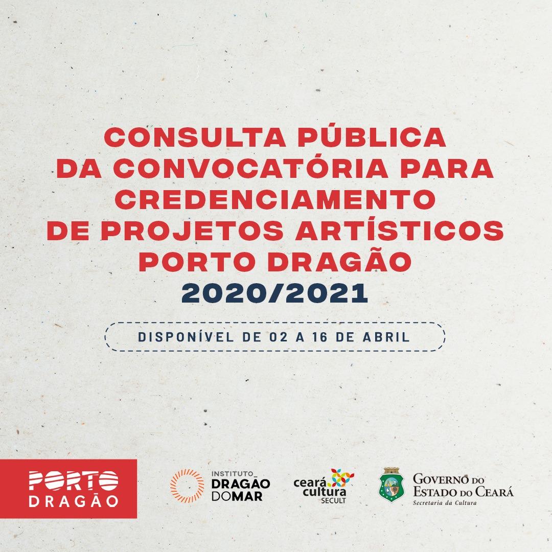 Banner de convocatória para credenciamento de projetos artísticos do Porto Dragão