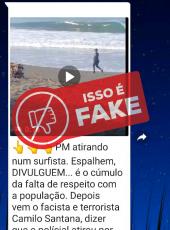 Vídeo em que policial atira em surfista é da Costa Rica, não do Ceará