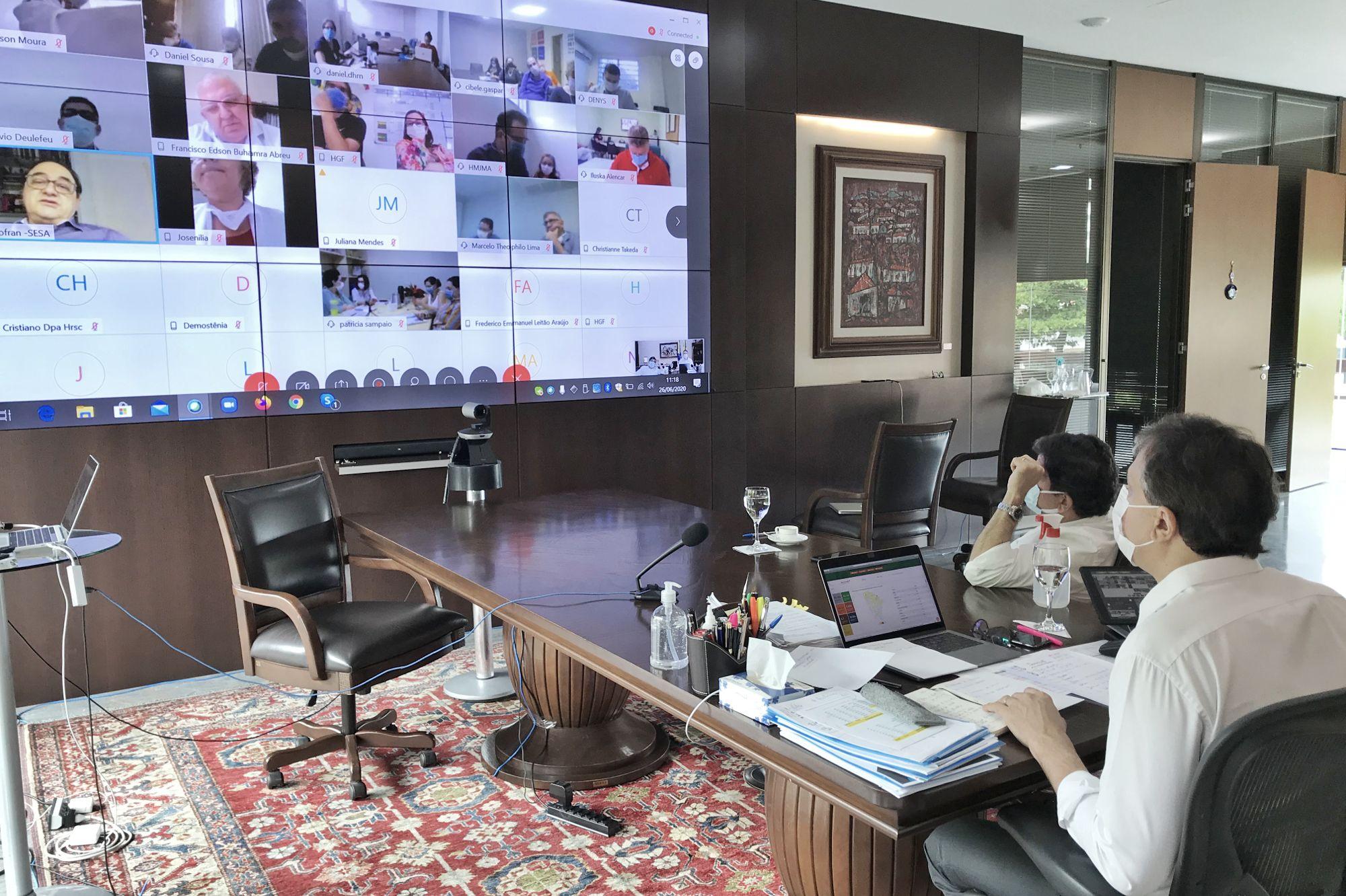 Governador se reúne com diretores dos 12 hospitais da rede estadual para avaliar ações durante a pandemia