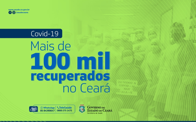Banner de mais de 100 mil pacientes recuperados de coronavírus
